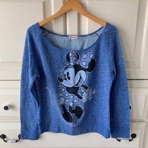 Disney Minnie Mouse Heather Blue Scoop Neck